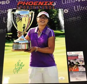 Lydia Ko Full Name Signed Auto Autograph 11x14 Photo Holding Trophy JSA Coa