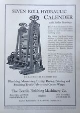 1931 AD(K21)~THE TEXTILE-FINISHING MACHINERY CO. PROV., RI. HYDRAULIC CALENDER