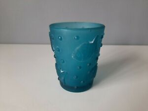 Turquoise Glass Tumbler With Fish and Bubbles - 10cm