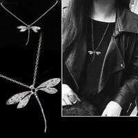 New Fashion 925 Silver Jewelry Elegant Dragonfly Chain Pendant Necklace Gift