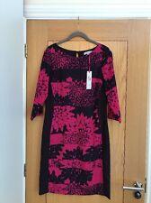 PER UNA Pink & Purple 3/4 Sleeve Knee Length Chiffon Dress Size 8 - NEW £49,50