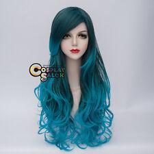 70cm Mixed Türkis Grün Lolita Harajuku Anime Cosplay Wig Perücke Manga Haar +Cap