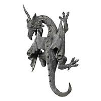 """Gothic Greystone Horned Dragon Of Devonshire Design Toscano 13½"""" Wall Sculpture"""