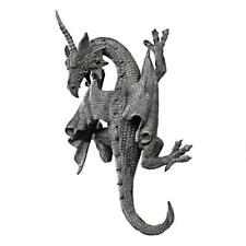 "Gothic Greystone Horned Dragon Of Devonshire Design Toscano 13½"" Wall Sculpture"