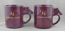 2 Calder Race Course Mugs Purple Horse Handle Florida