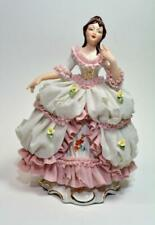 Vtg 1960s Germany Lace 17th Cent Lady White & Pink Porcelain Figurine Read descr