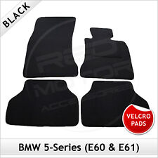 BMW 5-Series E60 E61 2003-2010 Velcro Pads Tailored Carpet Car Floor Mats BLACK