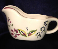RED WING POTTERY CAPRICE GRAVY BOAT 8 OZ RED GREY FLOWERS GREEN RED LEAVES