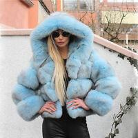 Women Natural Full Pelt Real Vulpes Fox Fur Hoodie Coat Jacket  Hooded Overcoat