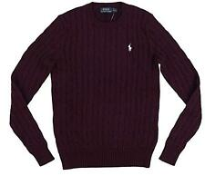 Polo Ralph Lauren Womens Crew Neck Cable Knit Sweater RED WINE S