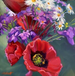 "Abbott Oil Painting Panel 12""x12"" Spring Floral Poppies And Various Flowers"