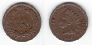 USA UNITED STATES – RARE 1 CENT BRONZE COIN 1908 YEAR INDIAN HEAD KM#90a