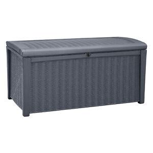 Keter Borneo Rattan/Wicker Style Resin Patio Deck Box Storage Bin, 110gal, Grey