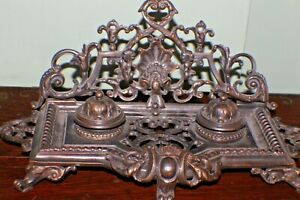 Cast Metal Desk Base Ornate Ink well Stand W/ Lidded Ink Well