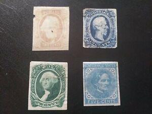 USA - 1860er Jahre - 4 Briefmarken der Konföderierten Staaten ( Südstaaten ).