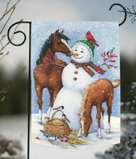 NEW Toland - Snowman Pasture - Winter Barnyard Horse Bird Snow Garden Flag