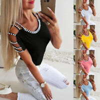 Womens Pearls Cold Shoulder Tops T-Shirts Ladies Casual Short Sleeve Slim Blouse