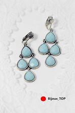 orecchini Clip Candeliere Goccia Pera Blu Turchese Originale CC 5
