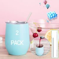 2 PCS Stemless Steel Wine Glass Tumbler Double Wall Insulated Tumbler Drinks UK