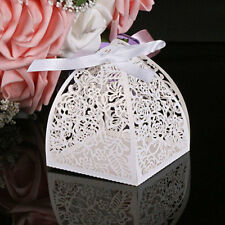 10PCS Lovely Weeding Cut Candy Gift Boxes With Ribbon Wedding Party Favors