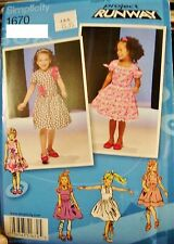 Toddler Girl Simplicity 1670 Pattern Project Runway Dress UNCUT Size 1/2-1-2-3