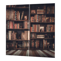 3D Photo Print Window Curtains Kids Room Bookcase Picture Artwork 2 Panels