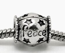Peace Inspirational Word Star Spacer Charm for Silver European Bead Bracelets