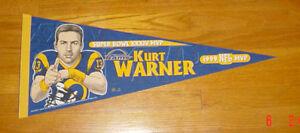 1999 Kurt Warner Super Bowl XXXIV MVP pennant St. Louis Rams SB 34