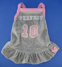American Dog Outfitters Dress Gray Velour Pink Perfect 10 Heart Size Small