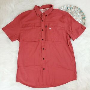 Coleman Outdoor Company Mens Shirt Size XL Red Short Sleeve Vented Button Down