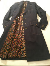LKNW Auth. DOLCE GABBANA Denim Leopard Liner Signature Buttons Long Coat 44