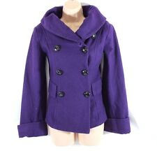 Purple Wool Mix Tweed C.A.R.O Hip Length Ladies Women's Jacket Pea Coat Size S M