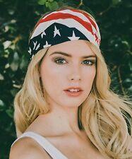 Women PATRIOTIC USA AMERICAN FLAG Wide HEADWRAP Stretch HeadBand ELECTION DAY