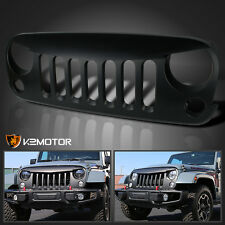 2007-2016 Jeep Wrangler 1PC Front Bumper Hood Grille Angry Bird Style Black