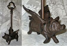 FLYING PIG Cast Iron DOOR STOP w Decorative Carry Handle ~ Pig With Wings ~