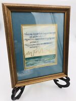 Framed Poem Calligraphy Walt Whitman Leaves Of Grass Crossing Brooklyn Ferry