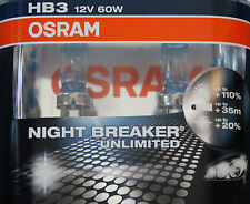 2x OSRAM HB3 Night Breaker Unlimited 60 Watt 12 Volt 60W 12V PKW Lampe Licht
