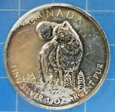 2011 CANADA $2 1 OUNCE SILVER WOLF - SUPER GOLDEN TONING
