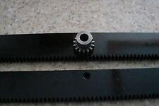 """CNC Stepper Motor Mech Rack & Gear 48"""" Rack  (2 pc) & 8mm 15T Pinion Gear"""