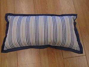 Martha Stewart Collection Oblong Pillow New Stripe Navy Blue Beige Off White