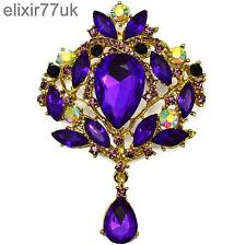 "Drop Dangle Gem Diamante Crystal Uk New 3.8"" Gold Flower Bouquet Brooch Purple"