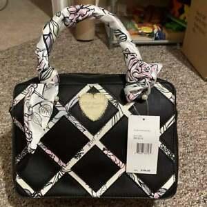betsey johnson Floral Double Entry Black Satchel scarf purse bag handbag nwt