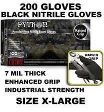 PYTHON Black Nitrile Gloves, 7 mil, Powder Free, 200 Gloves, Size XL X-Large