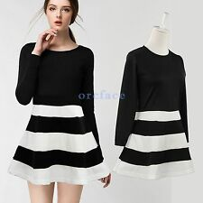 Crew Neck Skater Dresses Cocktail Striped for Women