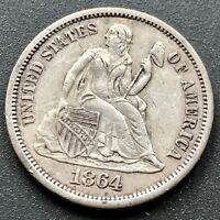 1864 S Seated Liberty Dime 10c San Francisco RARE Key Date AU Details #6412
