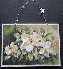 shabby chic plaque magnolias flowers florals picture  print