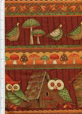 debbie mumm ~ FALL FOREST~ fabric linear owl quail mushrooms house leaves autumn