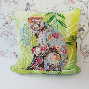 Green large monkey cushion boho indie chic room decor bright cotton felt