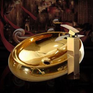 Oval Gold Keramik Becken Waschbecken Schüssel Gold Mixer Wasserhahn Drain Set