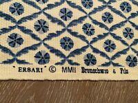 "Brunschwig & Fils Ersari Fabric Blue and White Cotton Suzani 1 Yard  55"" x 48"""